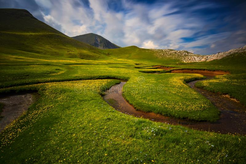 El valle de Verliga en la montaña de Lakmos foto de archivo libre de regalías