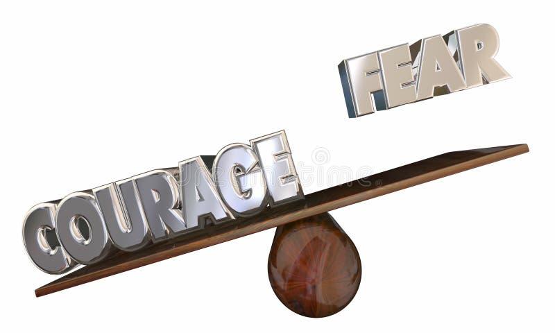 El valor contra la oscilación del miedo supera la sensación asustada libre illustration