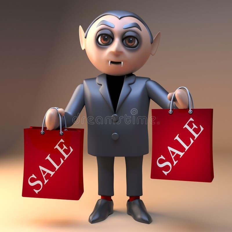 El vampiro Drácula de la historieta del cazador de negocio levanta sus bolsos que hacen compras con la venta calificada en ellos, libre illustration
