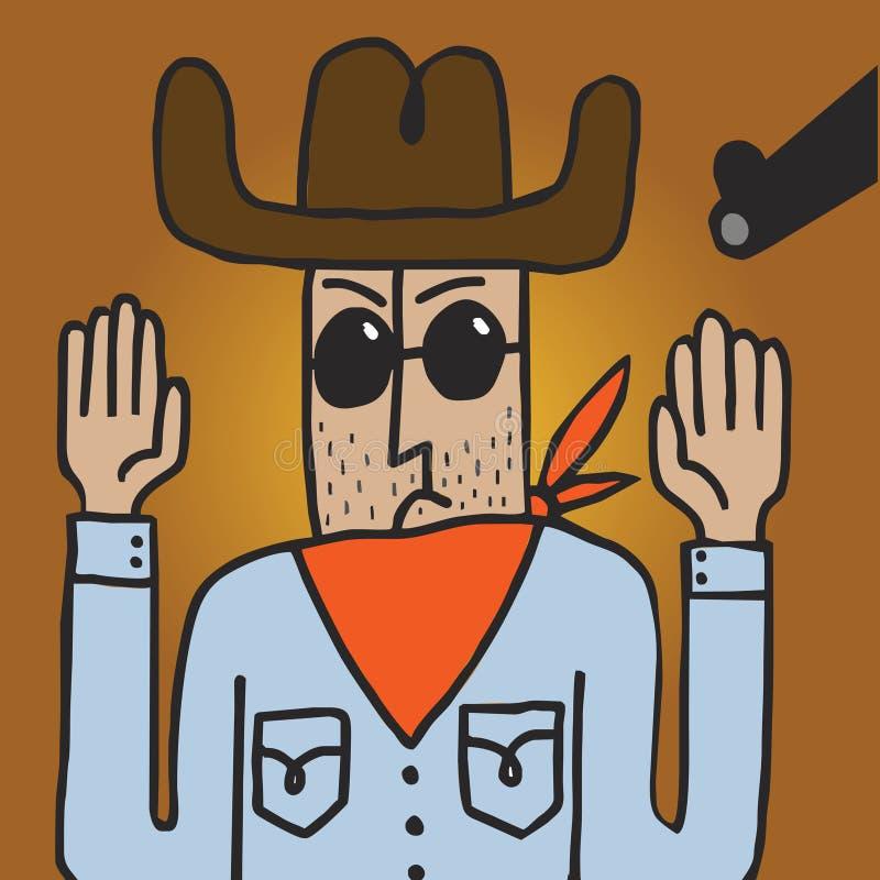 El vaquero estado dirigido por un arma levanta sus manos stock de ilustración