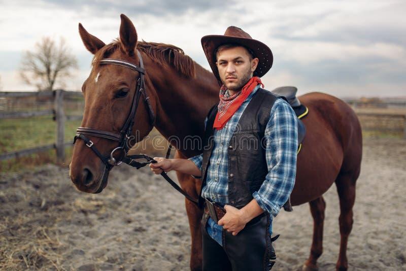 El vaquero presenta con el caballo en la granja de Tejas imagen de archivo
