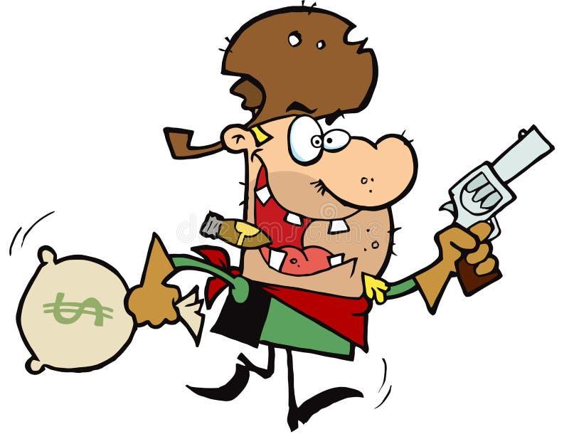 El vaquero proscrito roba el dinero libre illustration