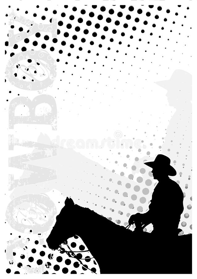 El vaquero puntea el fondo del cartel stock de ilustración