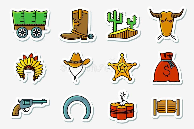 El vaquero y los iconos occidentales fijaron en la línea fino minimalistic del arte y ilustración del vector