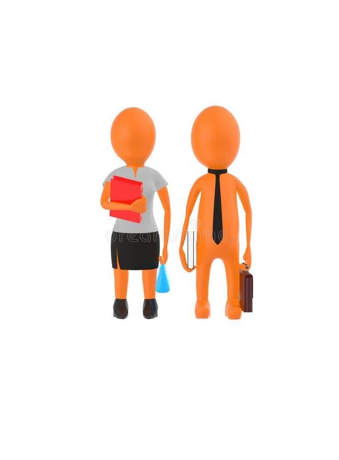 el varón anaranjado y la hembra que llevan el vestido formal y que sostienen brefcase, el libro y el bolso del carácter 3d, archi libre illustration