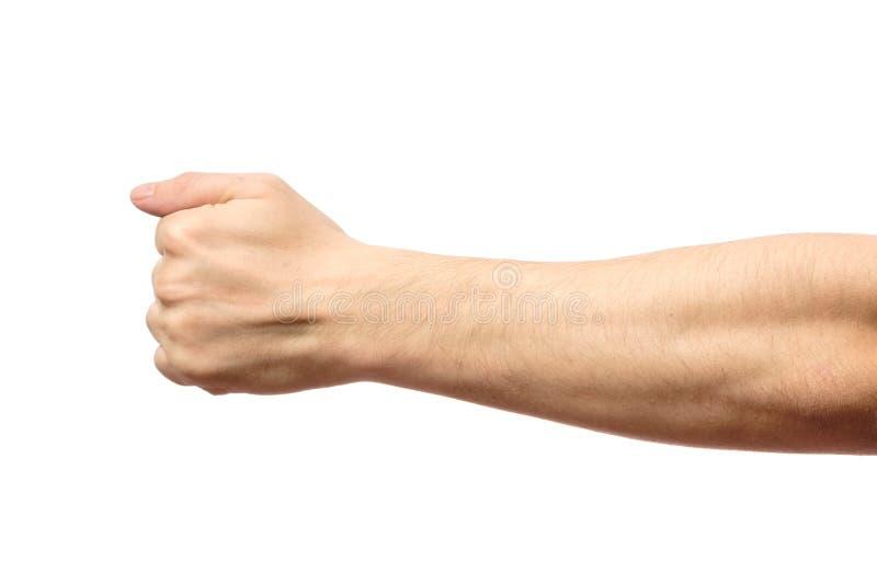El varón apretó el puño aislado en blanco imágenes de archivo libres de regalías