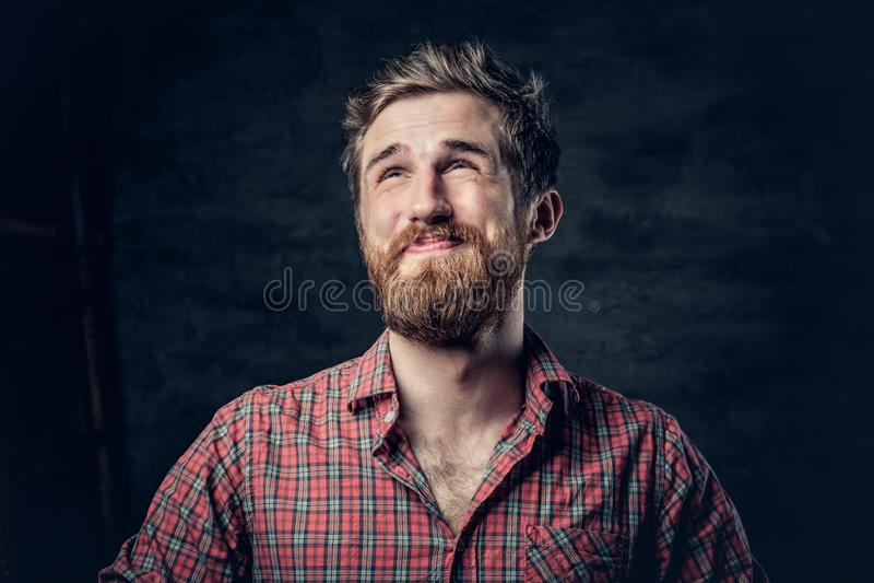 El varón barbudo vestido en una camisa roja del paño grueso y suave hace la conversación foto de archivo libre de regalías