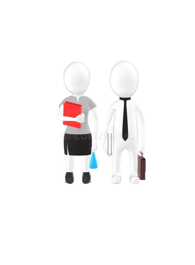 el varón blanco y la hembra que llevan el vestido formal y que sostienen brefcase, el libro y el bolso del carácter 3d, archivan  stock de ilustración