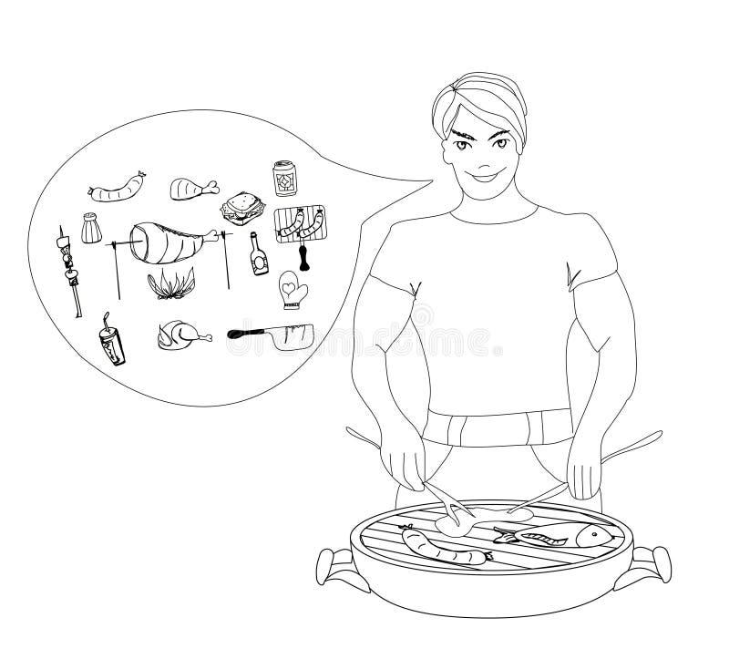 El varón de la historieta se vistió en el asado a la parilla del traje que cocinaba la carne. stock de ilustración