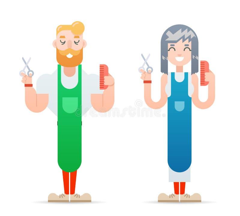 El varón de los caracteres del friki del inconformista del peluquero y el icono principal femenino de los cortes de pelo aislaron ilustración del vector