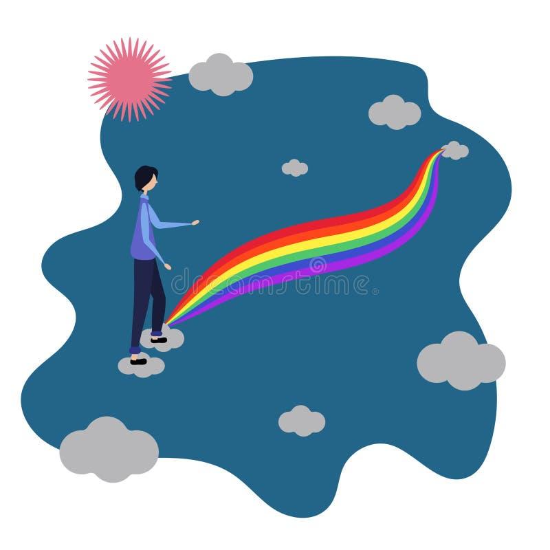 El varón entra en el arco iris Entre las nubes Comunidad de LGBT Los derechos humanos eligen amor LGBTQ ejemplo del vector de a ilustración del vector