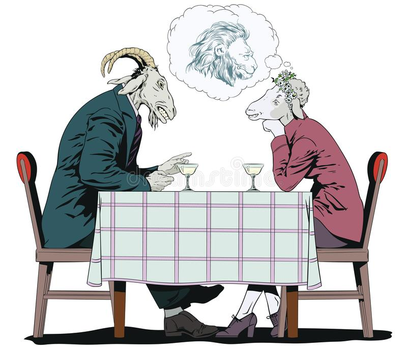 El varón está hablando con la muchacha Cabra y ovejas Sueños de la mujer de un princ libre illustration