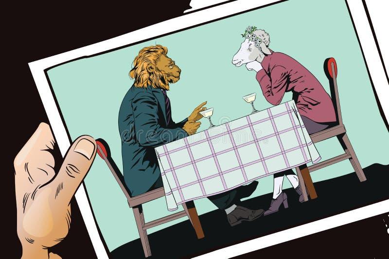 El varón está hablando con la muchacha León y ovejas Gente en imágenes del ani stock de ilustración