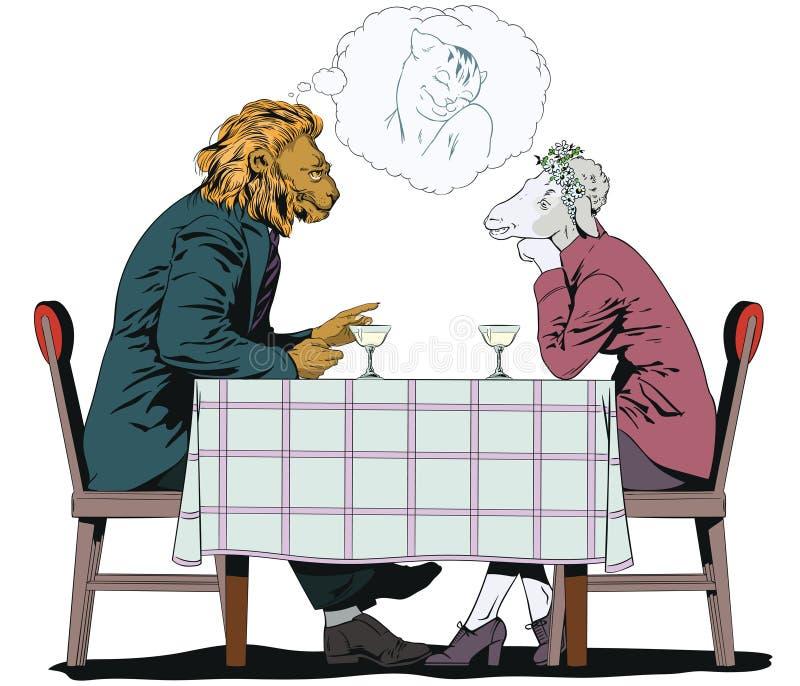 El varón está hablando con la muchacha León y ovejas Gente en imágenes del ani libre illustration