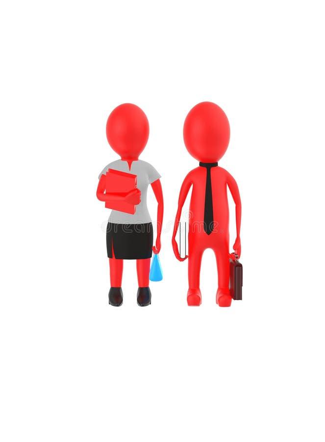 el varón rojo y la hembra que llevan el vestido formal y que sostienen brefcase, el libro y el bolso del carácter 3d, archivan re ilustración del vector