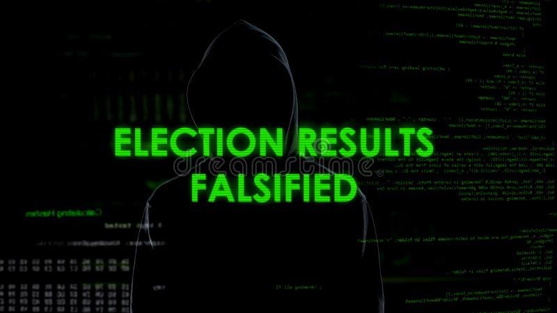 El varón secreto falsificó resultados, política y Seguridad del Estado electrónicos de elección imagen de archivo