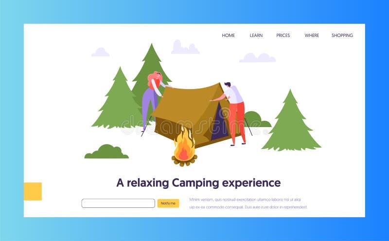 El varón y el carácter femenino recogen la tienda cerca de hoguera en Forest Landing Page Concepto al aire libre del viaje del ve libre illustration