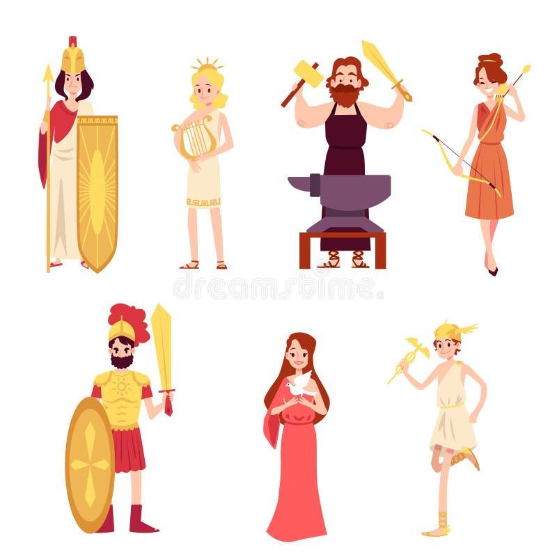 El varón y el griego clásico o Roman Gods femenino fijaron estilo de la historieta ilustración del vector