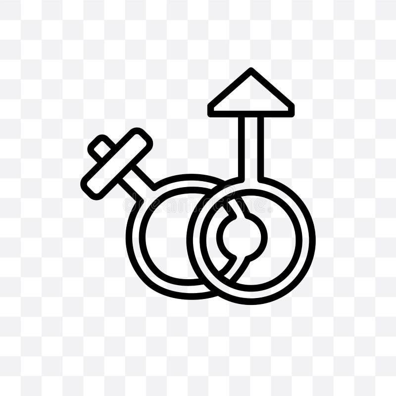 El varón y el icono linear del vector femenino del género aislado en fondo transparente, varón y concepto femenino de la transpar stock de ilustración