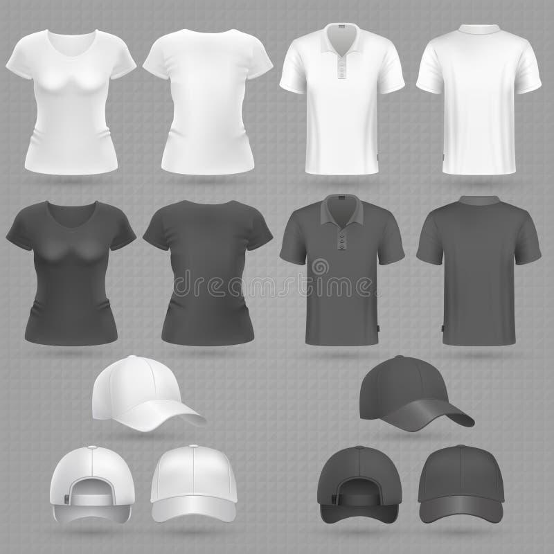El varón y la camiseta y la gorra de béisbol blancas negras femeninas vector la maqueta 3d aislada ilustración del vector