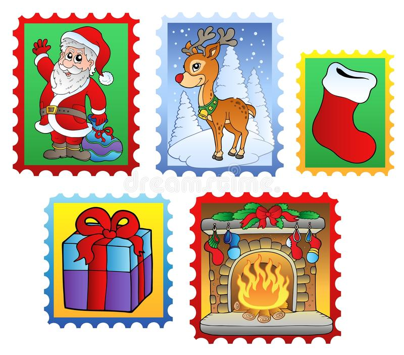 El vario poste de la Navidad estampa 2 stock de ilustración