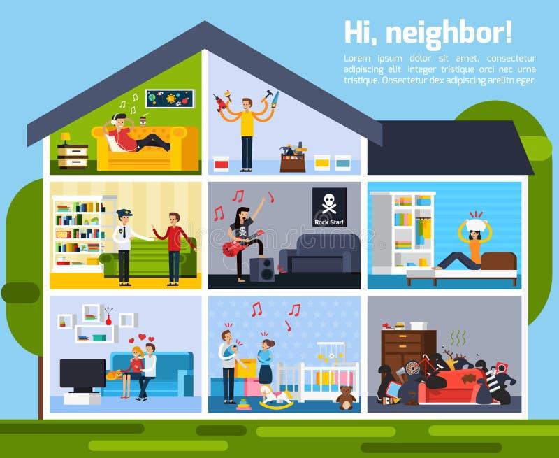 El vecino está en conflicto composición libre illustration