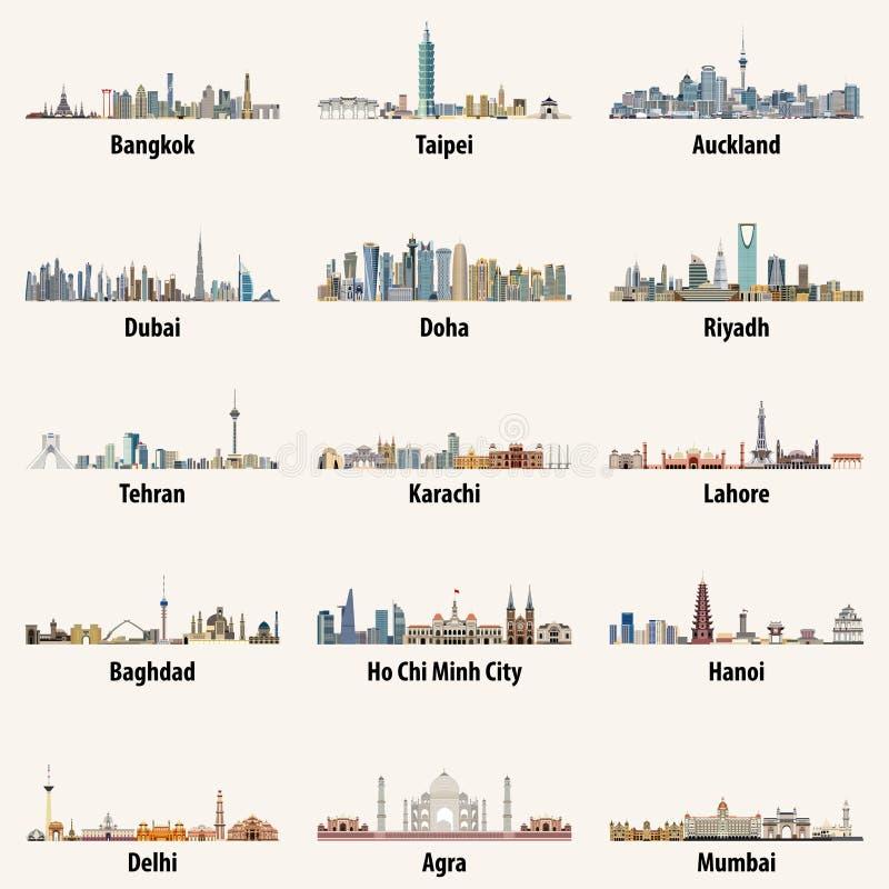 El vector abstracto aisló los ejemplos de los horizontes asiáticos de la ciudad libre illustration