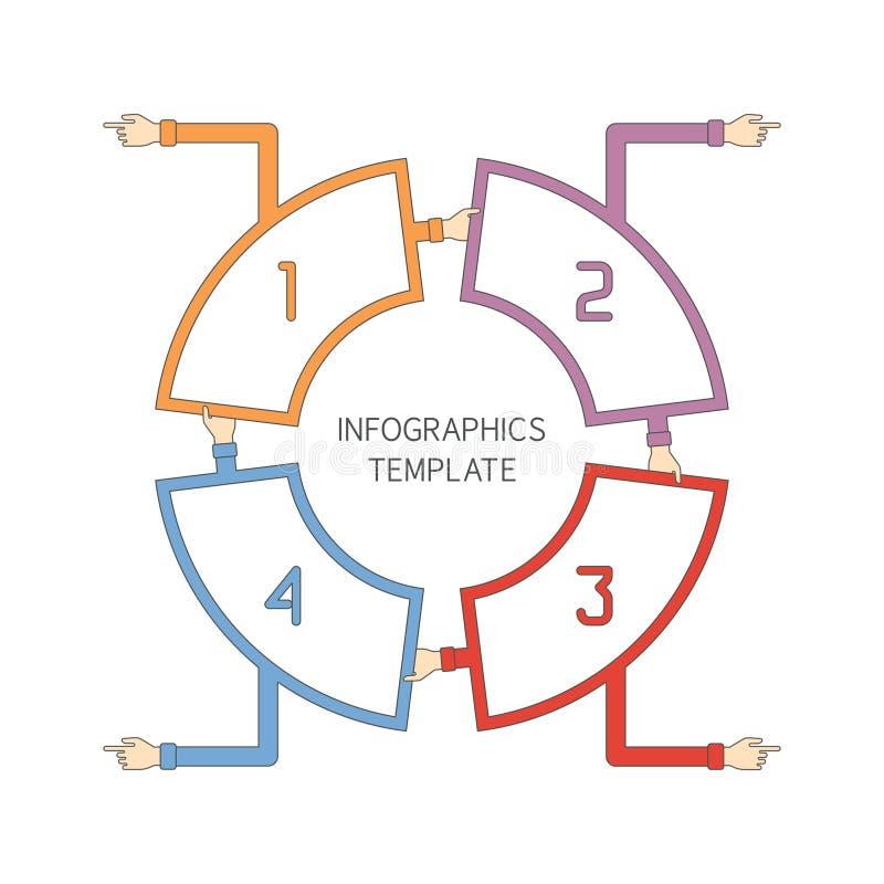 El vector abstracto 4 camina plantilla infographic en el estilo plano del esquema para el esquema del flujo de trabajo de la disp libre illustration
