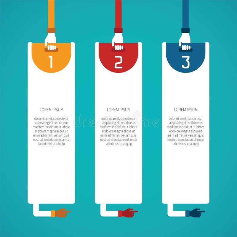 El vector abstracto 3 camina plantilla infographic en el estilo plano para el esquema del flujo de trabajo de la disposición, num stock de ilustración