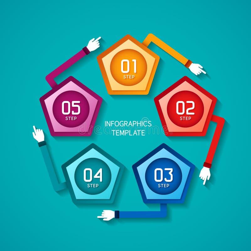 El Vector Abstracto 5 Camina Plantilla Infographic En El Estilo ...