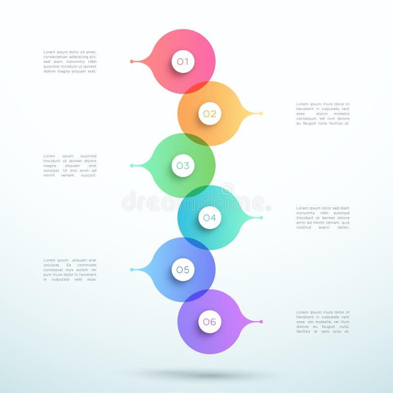 El vector abstracto 3d apiló el círculo Infographic de 6 pasos stock de ilustración