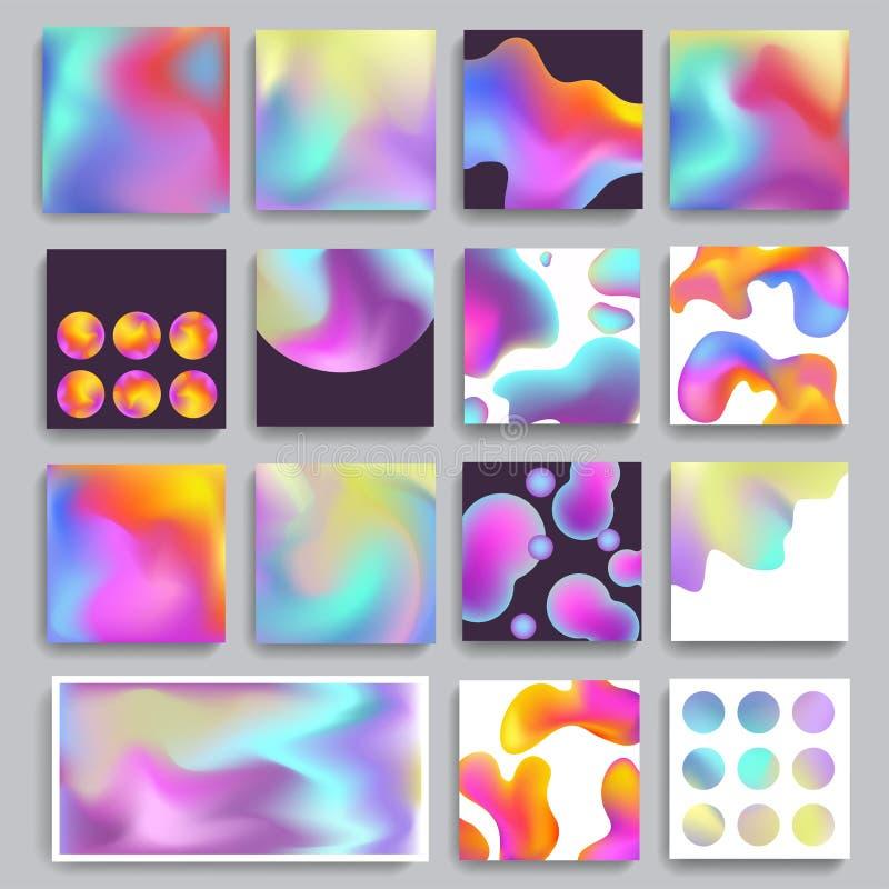 El vector abstracto moderno de la pendiente del fondo de la textura del holograma empañó colores wallpaper efecto olográfico del  stock de ilustración