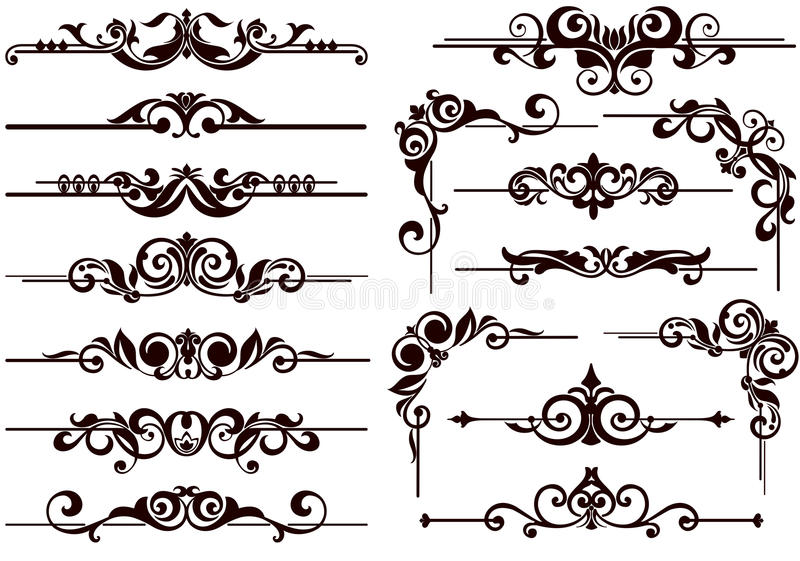 El vector adorna los marcos, esquinas, fronteras ilustración del vector