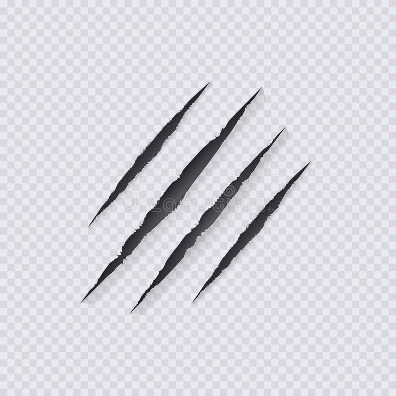 El vector agarra los rasguños ejemplo, aislado en fondo transparente, rasguño de las garras stock de ilustración