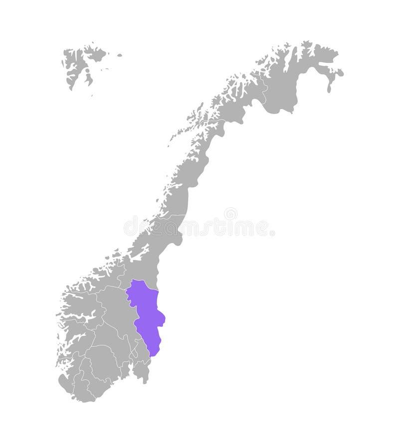 El vector aisló el ejemplo simplificado con la silueta gris de Noruega, contorno violeta de Hedmark libre illustration