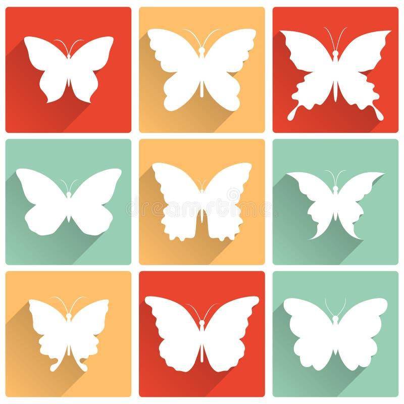 El vector aisló los iconos de las mariposas fijados ilustración del vector