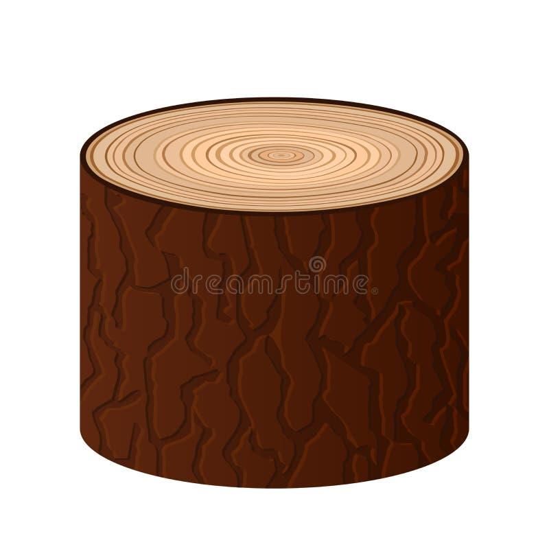 El vector aislado el registro de madera de la historieta se opone el árbol ilustración del vector