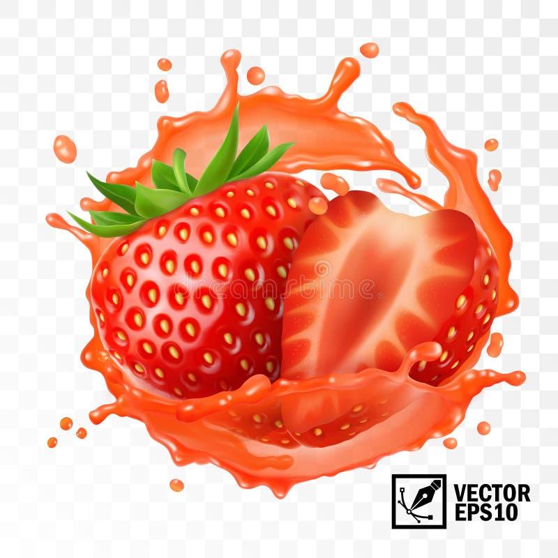 el vector aislado transparente realista 3d, peló la fruta de la fresa en un chapoteo del jugo con descensos, malla hecha a mano  stock de ilustración