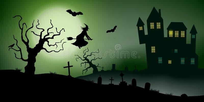 El vector asustadizo haloween paisaje con una casa encantada, un cementerio, una bruja y los palos del vuelo en Luna Llena ilustración del vector