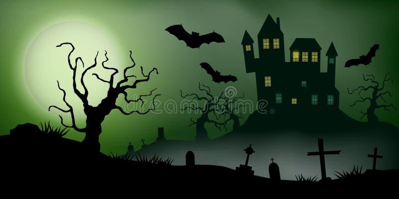 El vector asustadizo haloween paisaje con una casa encantada, un cementerio y los palos del vuelo en Luna Llena ilustración del vector