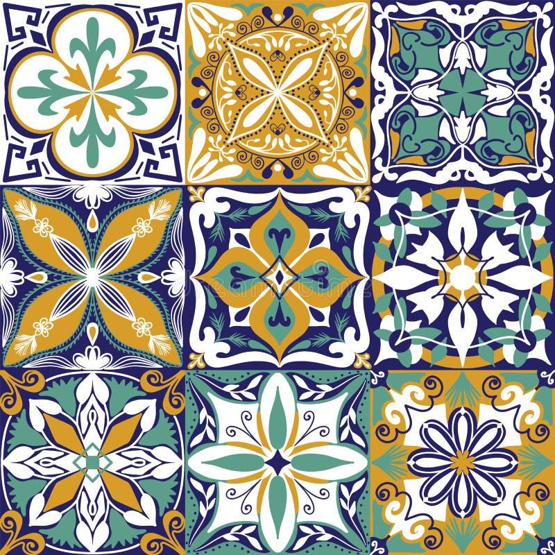 El vector Azulejo portugu?s teja el fondo incons?til del modelo ilustración del vector