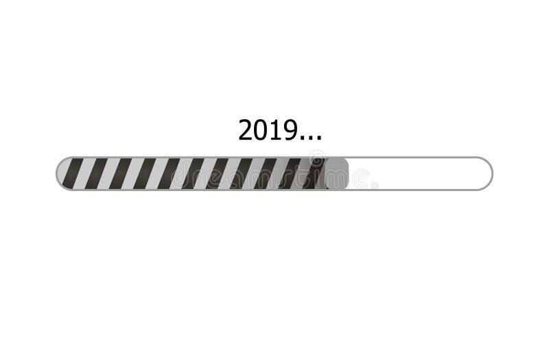 El vector barra de cargamento de 2019 años, icono del proceso de la carga, ejemplo monocromático aisló libre illustration