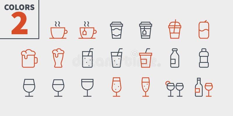 El vector Bien-hecho a mano perfecto del pixel de la comida UI de las bebidas alinea ligeramente los iconos 48x48 listos para la  libre illustration