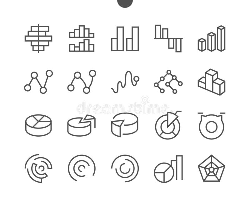 El vector Bien-hecho a mano perfecto del pixel de las cartas UI alinea ligeramente la rejilla de los iconos 48x48 para los gráfic ilustración del vector