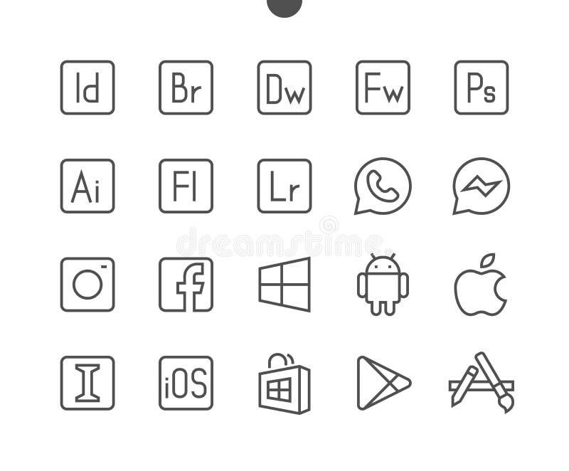 El vector Bien-hecho a mano perfecto del pixel de los logotipos UI alinea ligeramente los iconos 48x48 listos para la rejilla 24x libre illustration