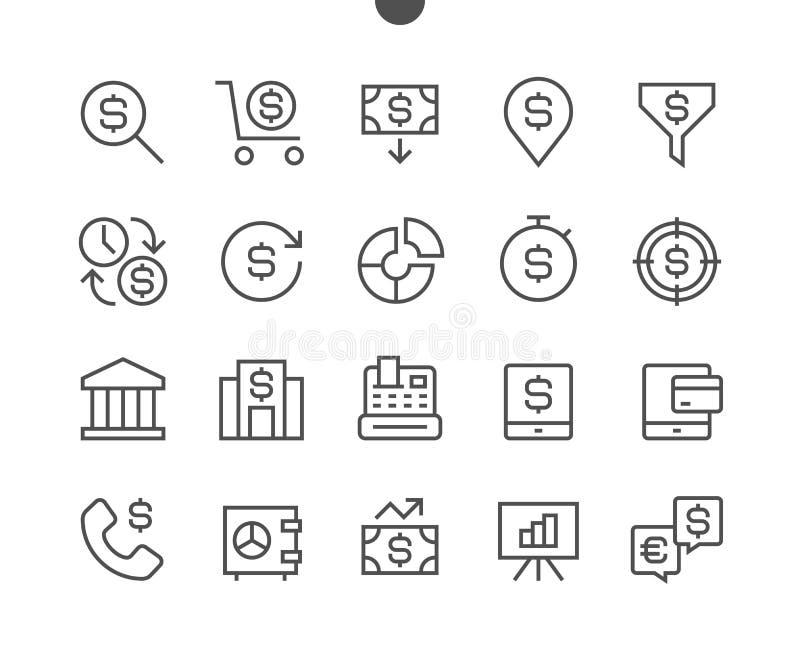 El vector Bien-hecho a mano perfecto del pixel financiero alinea ligeramente iconos stock de ilustración