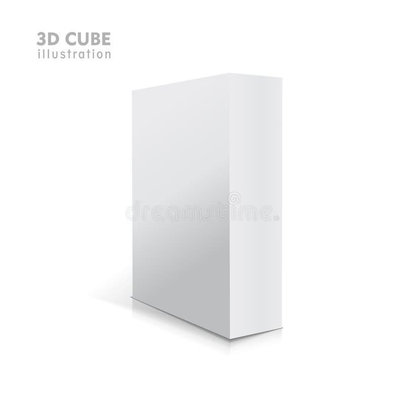 El vector blanco realista abrió el ejemplo en blanco de la caja 3d con las sombras libre illustration