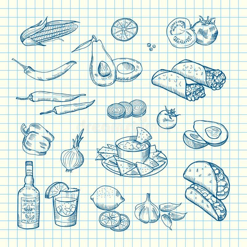 El vector bosquejó el fondo mexicano del sistema de elementos de la comida ilustración del vector