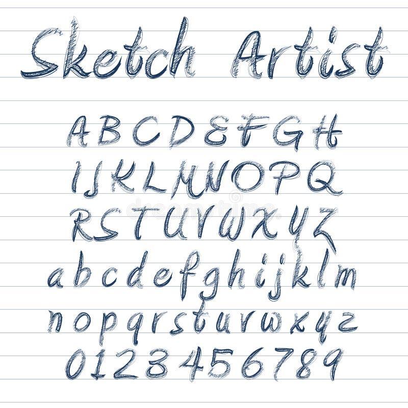 El vector bosquejó la fuente libre illustration