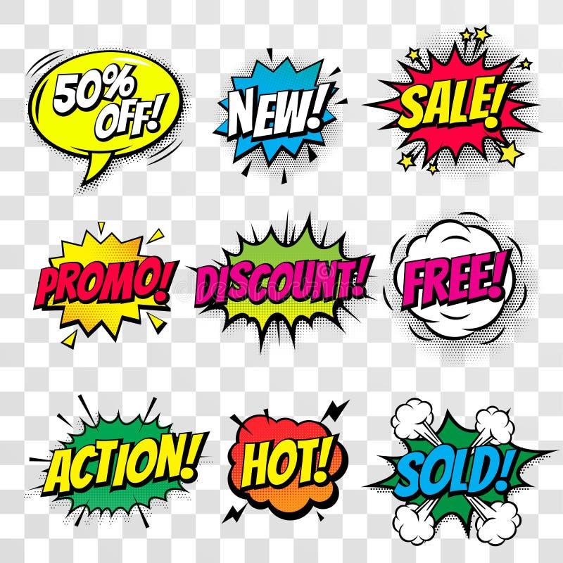 El vector cómico de la burbuja del texto del descuento de la venta que hacía compras aisló los iconos fijados stock de ilustración